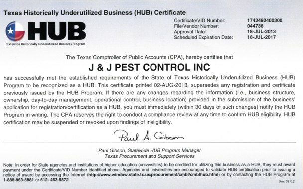 J&J Pest Control HUB certificate